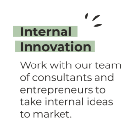 Internal Innovation - Work with our team of consultants and entrepreneurs to take internal ideas to market